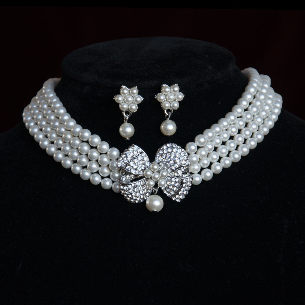 Vintage Ribbon Pearl Chooker Bridal Jewellery Set, Cubic Zirconia Necklace and Earrings