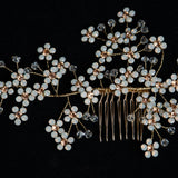 Opal Cherry Blossom Handmade Bridal Headpiece, Hair Comb for Wedding