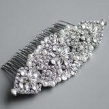 Vintage Rhinestone Applique Bridal Headpiece, Silver Wedding Hair comb
