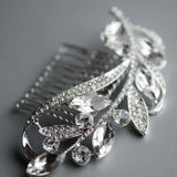 Leaf Rhinestones Silver Wedding Hair Comb, Bridal Headpiece