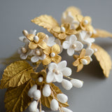 Porcelain Flowers in Gold Handmade Bridal Headpiece, Gold Hair Comb