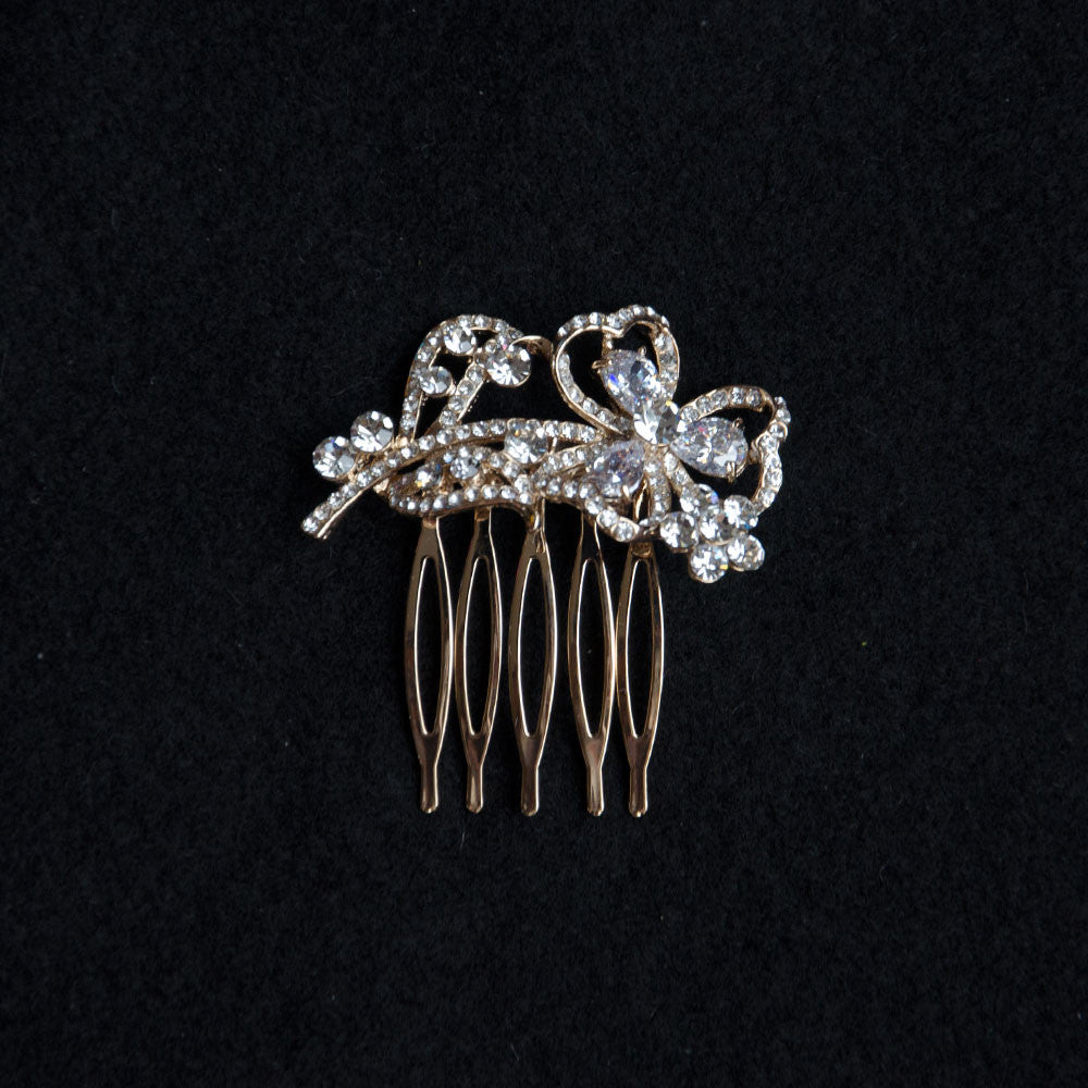 Leaf Cubic Zirconia Petite Gold Wedding Comb, Bridal Headpiece, Wedding Accessories