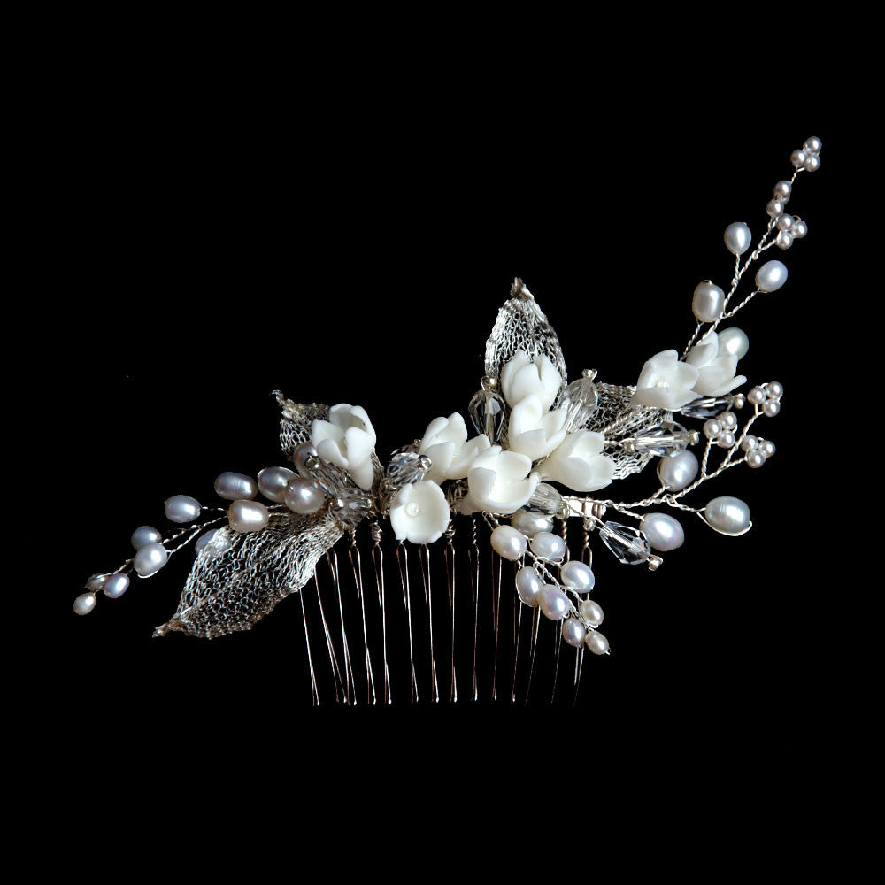 Delicate Tulip Porcelain Flowers & Pearls Bridal Headpiece, Handmade Hair Comb