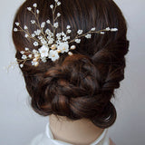 Seashell Sakura Bridal Hair Pin in Blush Tones, Handmade Bridal Headpiece