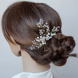 Swarovski Clusters and Pearls Bridal Hair Pin, Handmade Headpiece