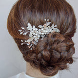 Swarovski Elements Blush Tones Floral Headpiece, Handmade Bridal Headpiece