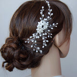 Porcelain Flowers in Natural Pearls and Swarovski Elements Bridal Headpiece
