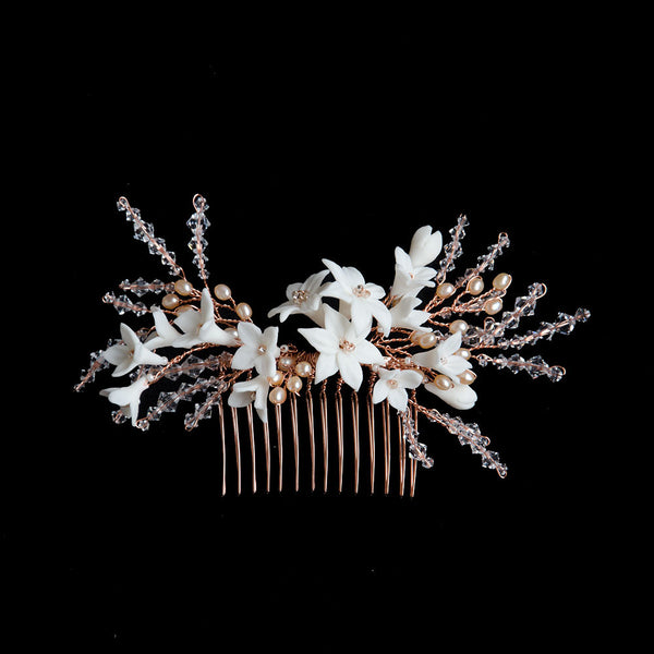 Porcelain Lily in Swarovski Crystals Branches Handmade Bridal Headpiece in Rose Gold
