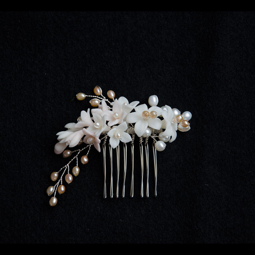Porcelain Lily Cluster with Pearls in Blush Tones Handmade Bridal Headpiece