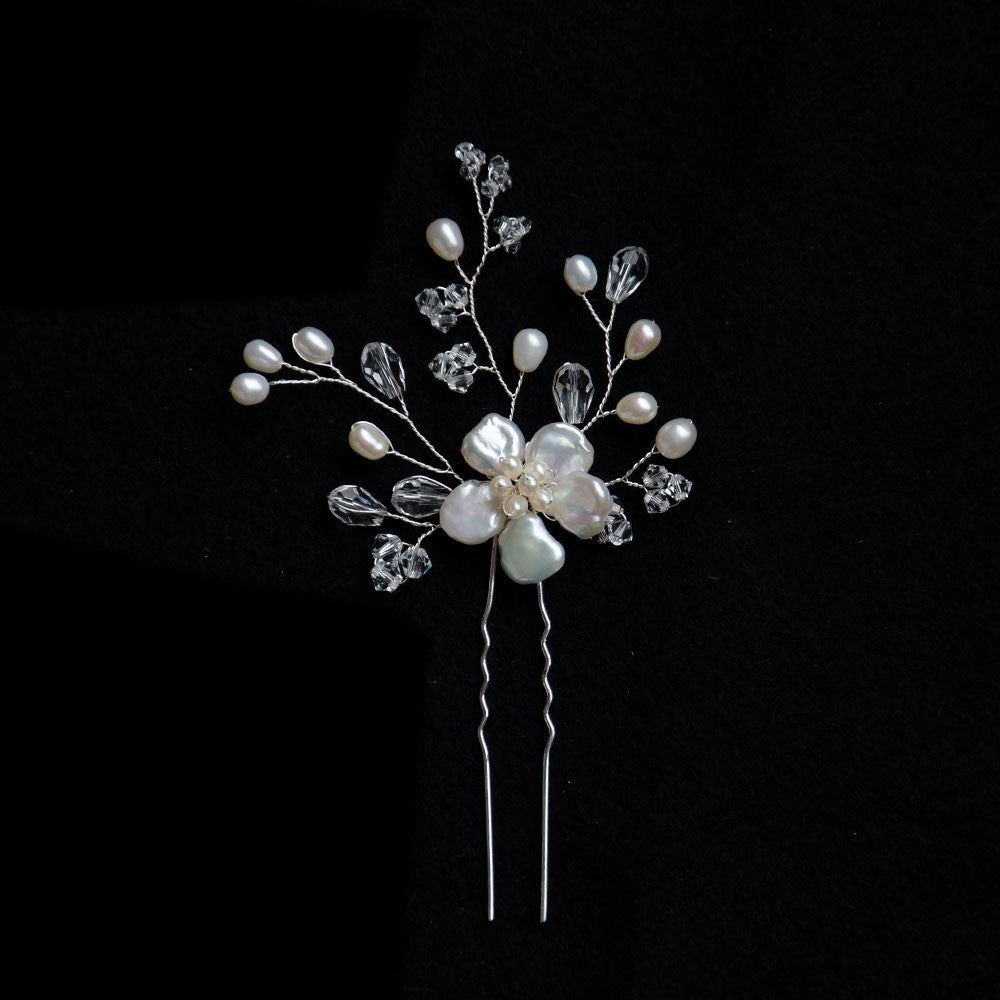 Petite Natural Keshi Pearls Flower Pin Headpiece, Handmade Bridal Headpiece
