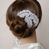 Micropaved Rhinestone Feather Wedding Comb, Bridal Headpieces, Wedding Accessories