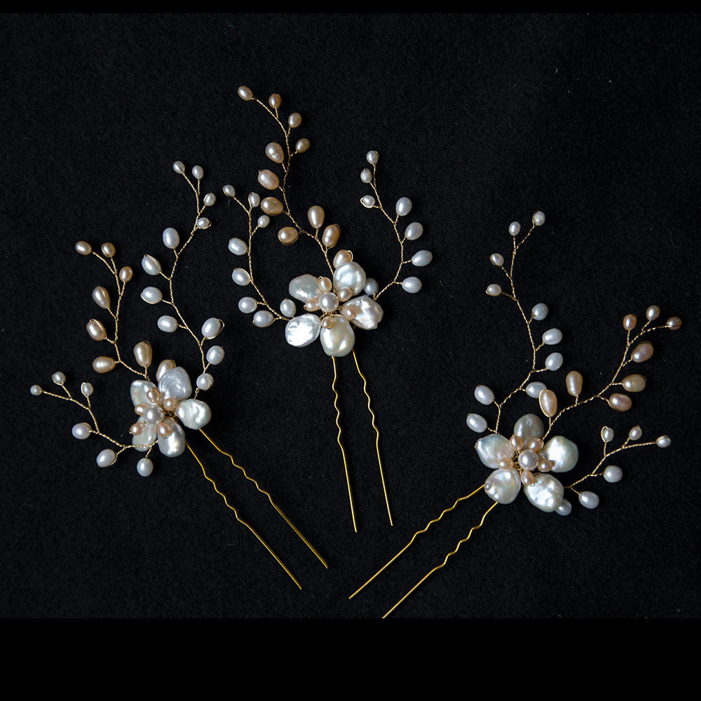 Natural Keshi Pearls Flower Pins Set Bridal Headpiece in Blush Tones