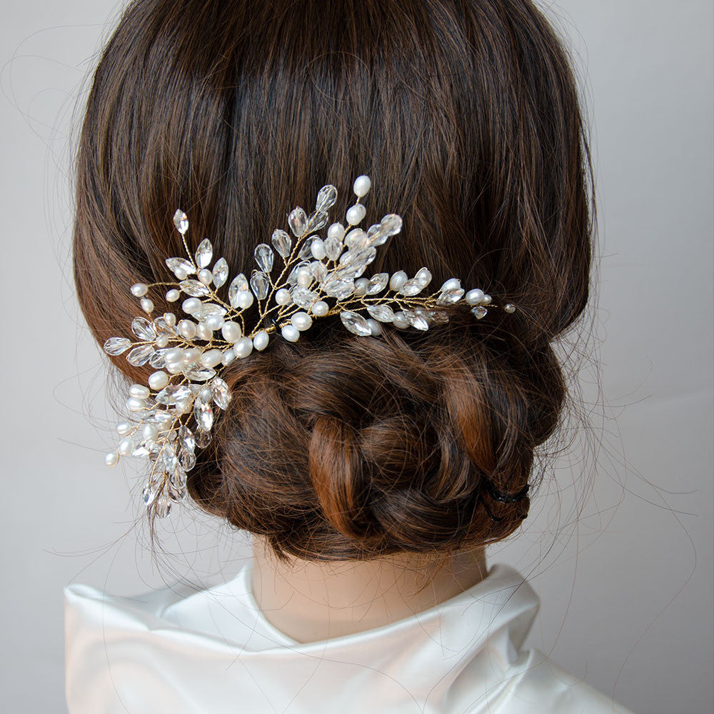 On Sale rose gold bridal crystal pearl hair comb hair jewelry rose gold wedding hair piece bridesmaid comb hair piece bridal jewelry