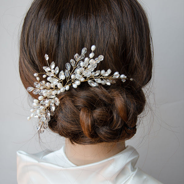 Branches Pearls and Crystals Cluster Headpiece Hair Comb, Wedding, Bridal,  Bridesmaids