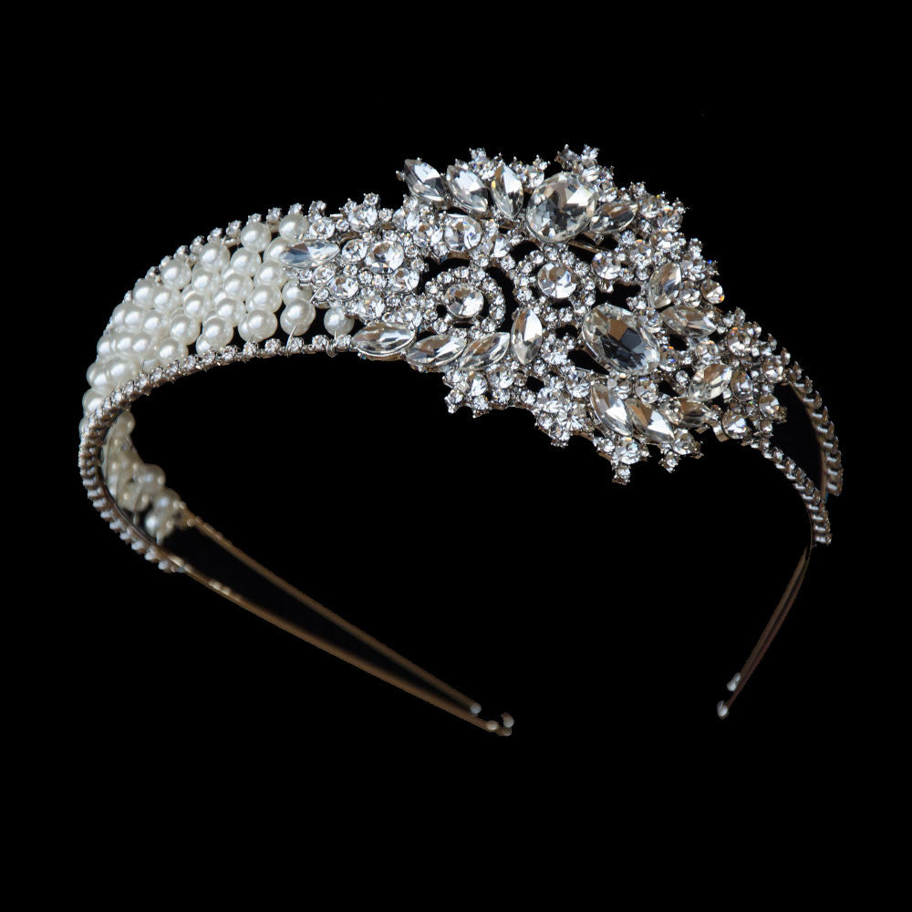 Classic 60s Pearls and Crystals Tiara, Vintage Tiara, Pearls Wedding Crown