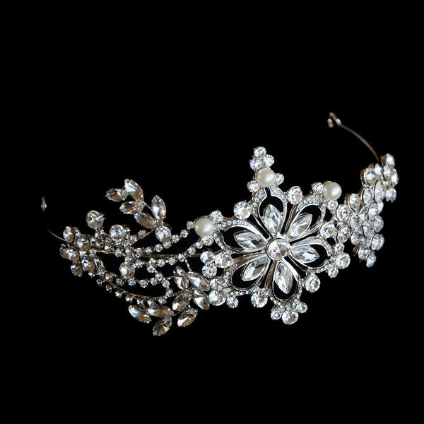 Elegant Navette Crystals Wedding Crown, Rhinestone Tiara, Rhinestone Bridal Headpiece