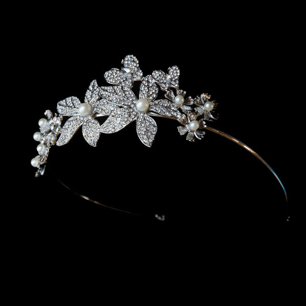 Floral Rhinestones Tiara, Rhinestone Wedding Crown, for brides and bridesmaids