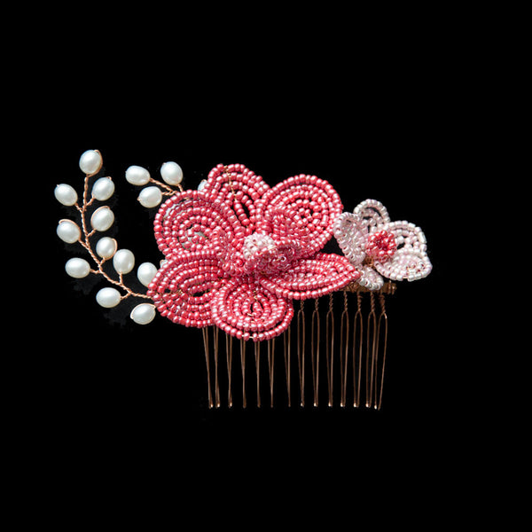 French Beaded Flowers Hair Accessories in Red and Pink, for Chinese Wedding