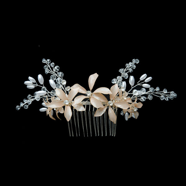 Nail Polish Flowers Handmade Bridal Headpiece in Nude