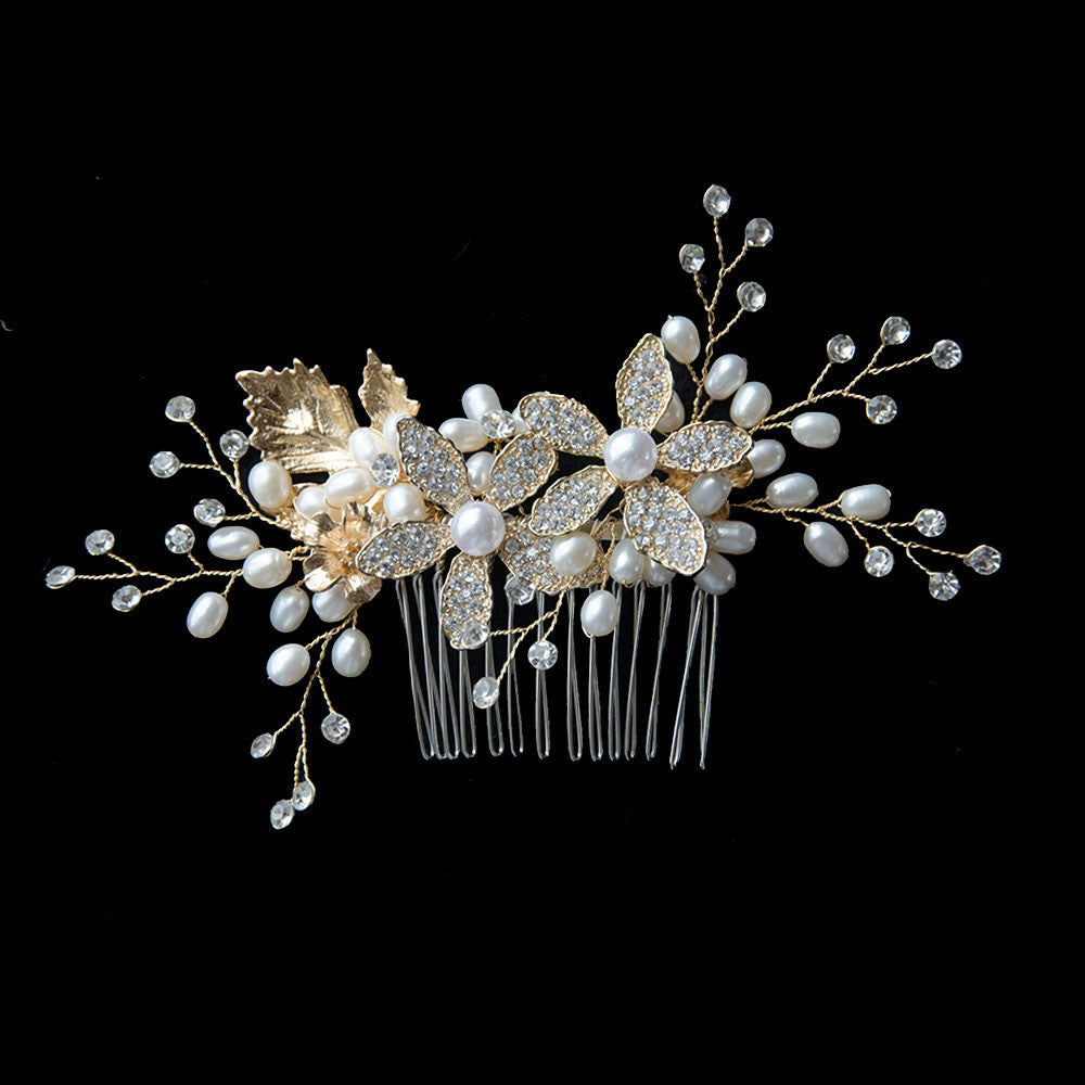 Golden Rhinestone Sunflowers Pearls Handmade Bridal Headpiece, Wedding Comb
