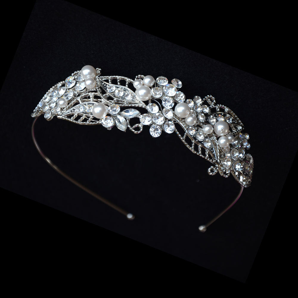 Classic Leaf Shape Swarovski Pearls and Crystals Tiara, Pearls Wedding Crown