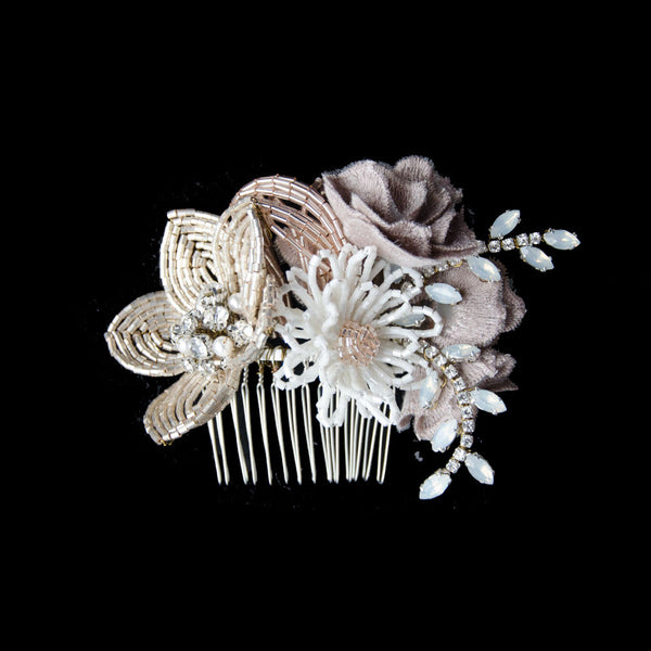 Rustic flower cluster wedding headpiece, French beaded flower hair comb, rustic bridal headpiece