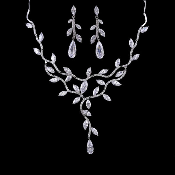 zirconia jewellery set, leaf zirconia necklace, leaf vine wedding set, crystal leaf set