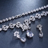 Exquisite Leaf & Flora Bridal CZ Jewellery Set, Cubic Zirconia Necklace and Earrings Set