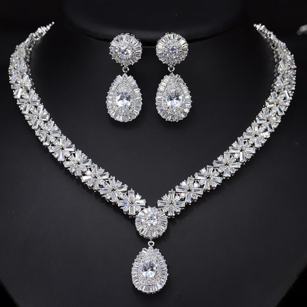 Grand Boho CZ Floral Crystal Bridal Jewellery Set, Cubic Zirconia Necklace and Earrings Set