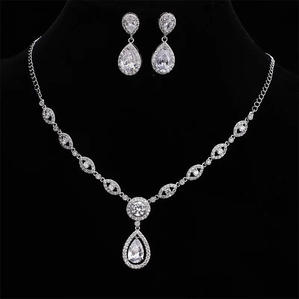 Silver Classic Oval Crystal Bridal Jewellery Set, Cubic Zirconia Necklace and Earrings Set