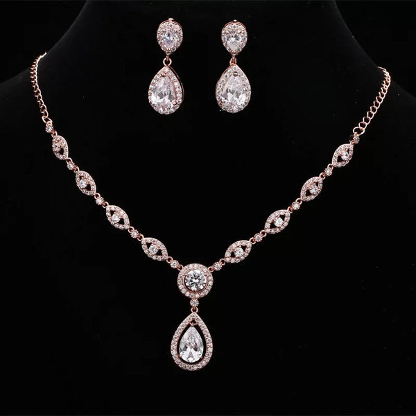 Rose Gold Classic Oval Crystal Bridal Jewellery Set, Cubic Zirconia Necklace and Earrings Set