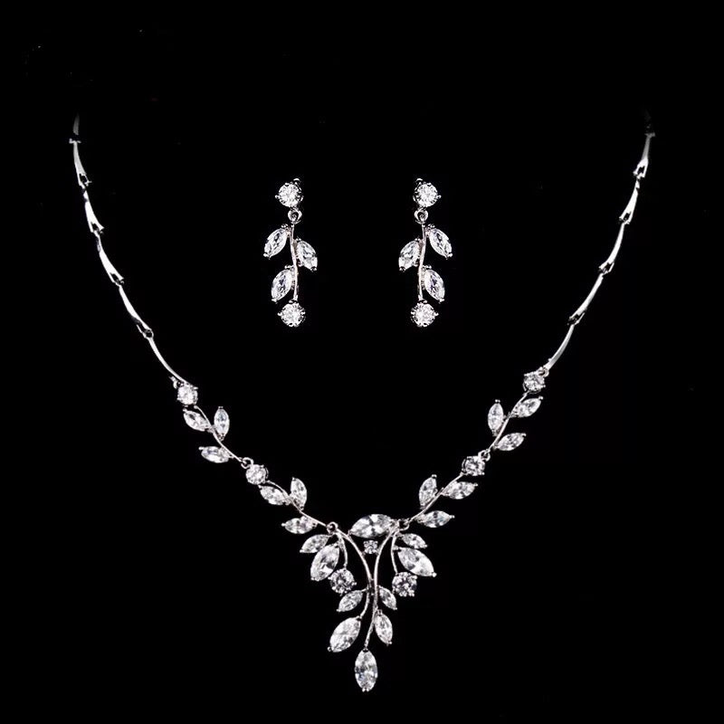 Simple Leaf Bridal Crystal Wedding Jewellery Set, Cubic Zirconia Necklace and Earrings Set