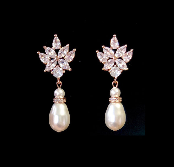 Swarovski Pearl Rose Gold Vintage Cubic Zirconia Drop Bridal Earrings, Wedding Earrings