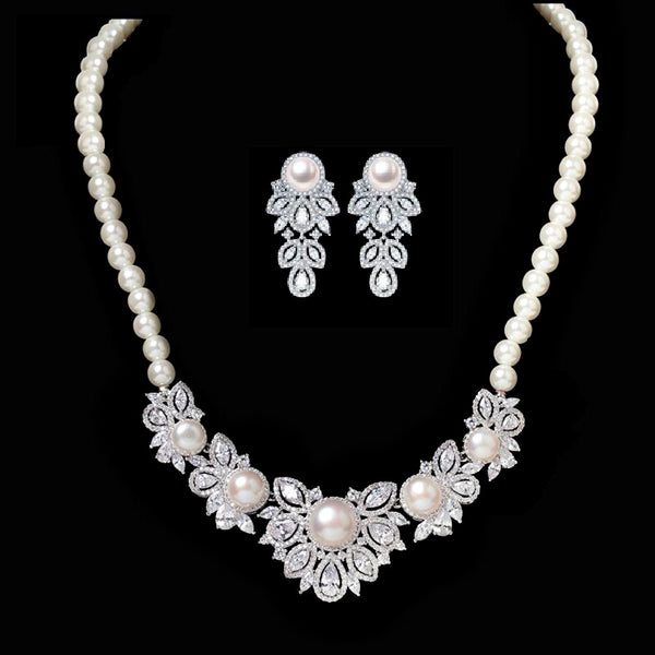 Boho Micropaved CZ and Pearl Wedding Jewellery Set, Bridal Cubic Zirconia Necklace and Earrings Set