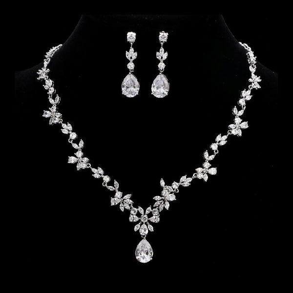 Silver Simple Floral Bridal Cubic Zirconia Wedding Jewellery Set, Crystal Necklace and Earrings Set