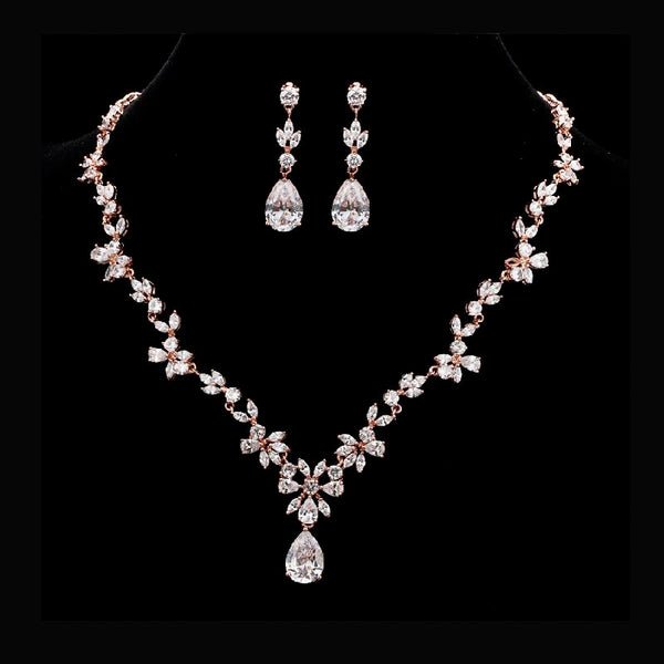Rose Gold Simple Floral Bridal Cubic Zirconia Wedding Jewellery Set, Crystal Necklace and Earrings Set