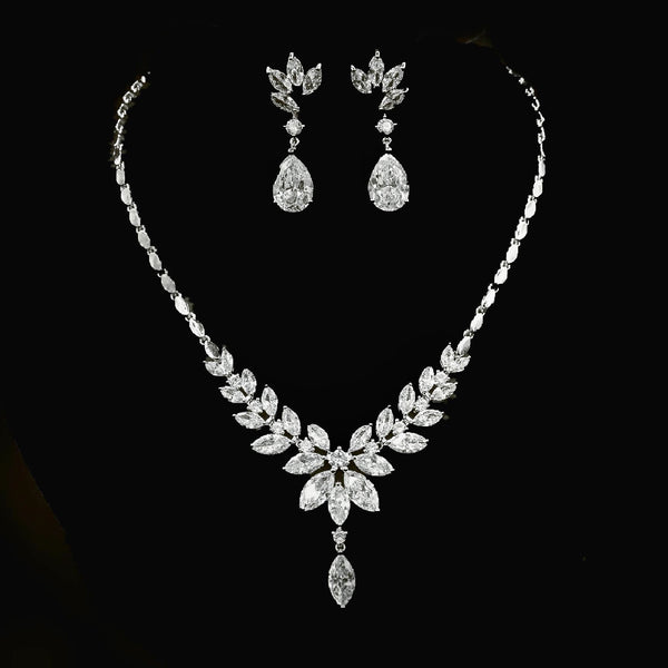 Exquisite Flora and Leaf Bridal Jewellery Set, Cubic Zirconia Necklace and Earrings Set