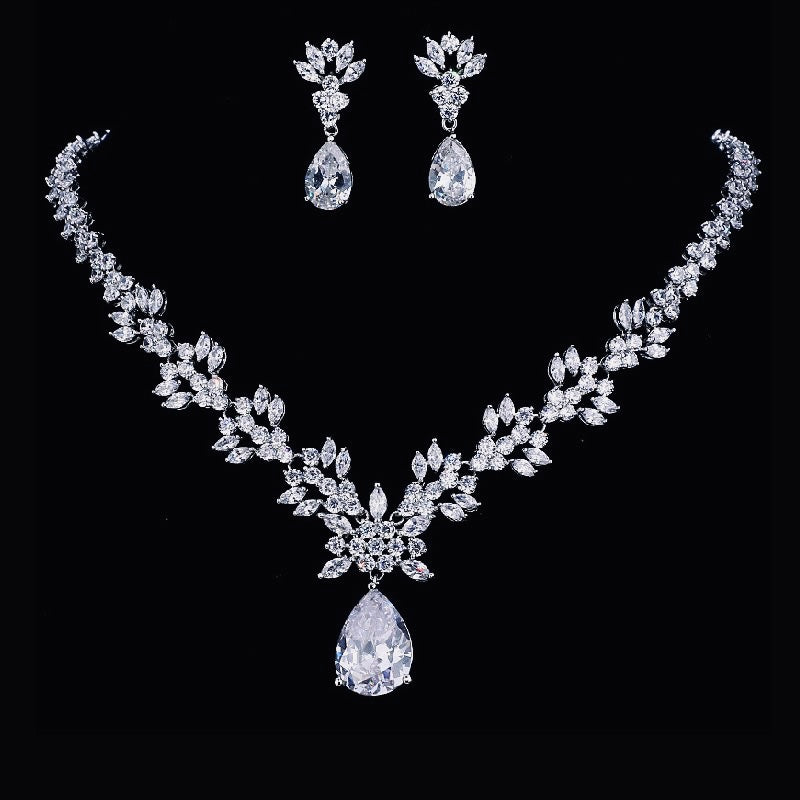 Exquisite Leaf & Flora Bridal Jewellery Set, Cubic Zirconia Necklace and Earrings Set