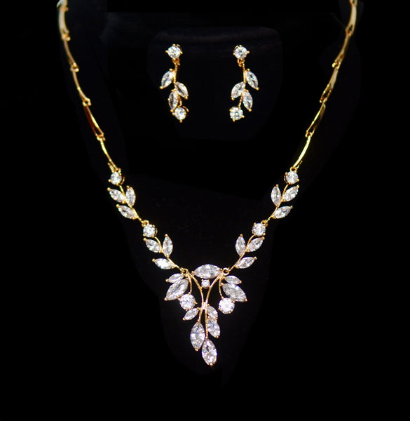 old Simple Leaf Bridal Crystal Wedding Jewellery Set, Cubic Zirconia Necklace and Earrings Set