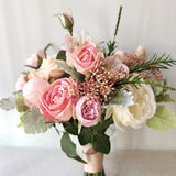 Coral and pink wedding bouquet, peony and English roses bridal banquet