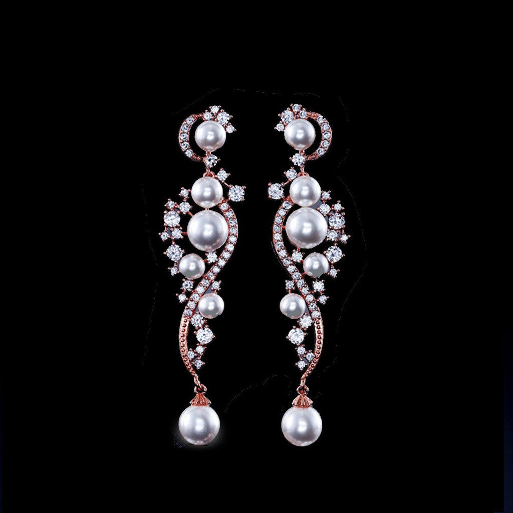 BEST SELLER - Pearl Rose Gold Cubic Zirconia Drop Bridal Earrings, Wedding Earrings