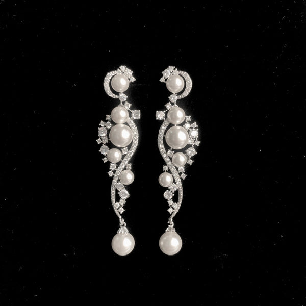 BEST SELLER - Pearl Silver Cubic Zirconia Drop Bridal Earrings, Wedding Earrings
