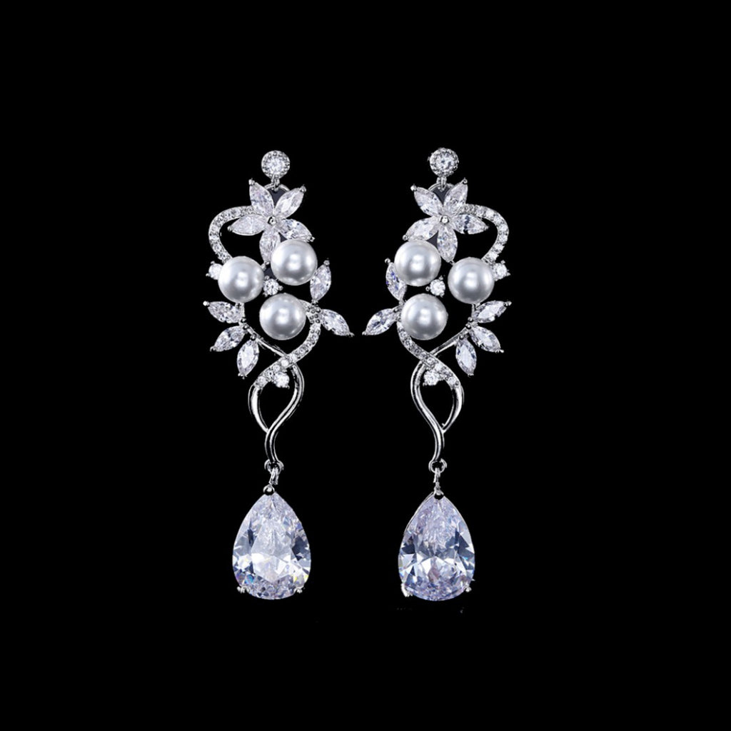 BEST SELLER - Pearl Silver Floral Cubic Zirconia Drop Bridal Earrings, Wedding Earrings