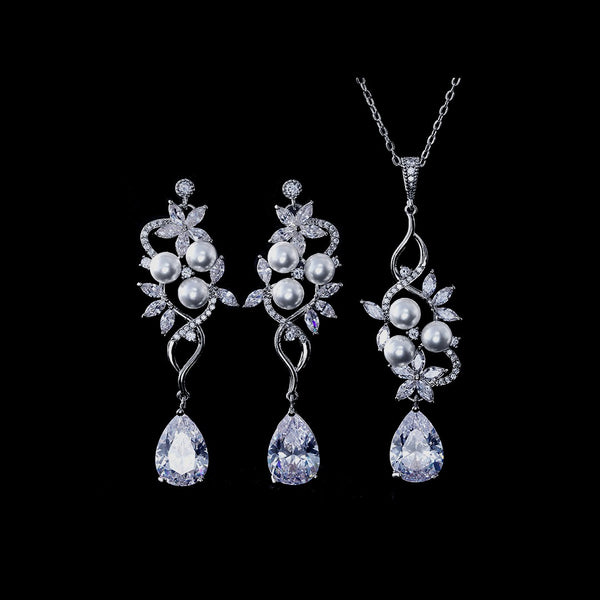 BEST SELLER - Exquisite Silver Floral Pearl & Crystal Set, Cubic Zirconia Necklace and Earrings Set