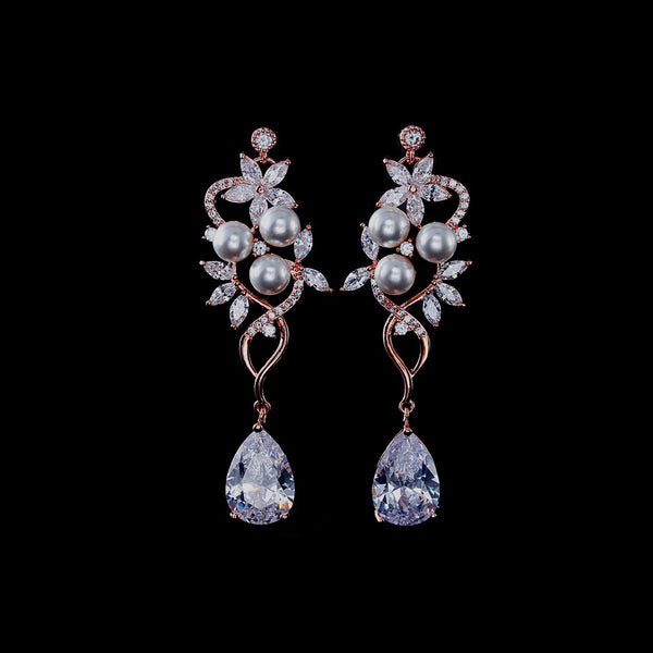 BEST SELLER - Pearl Rose Gold Floral Cubic Zirconia Drop Bridal Earrings, Wedding Earrings