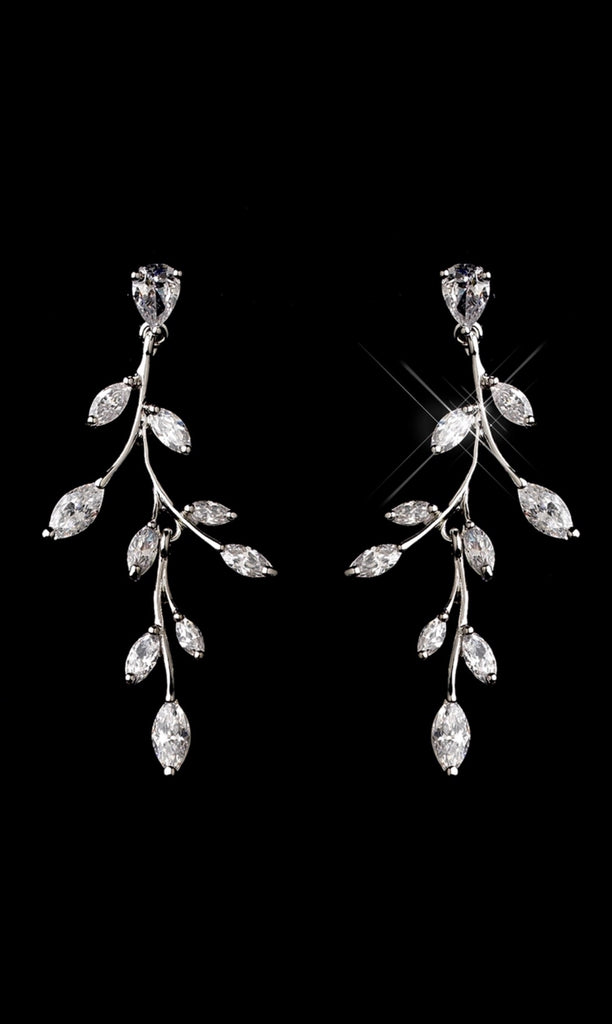 Leaf Vines Bridal Jewelry Set Cubic Zirconia Necklace And Earrings Set