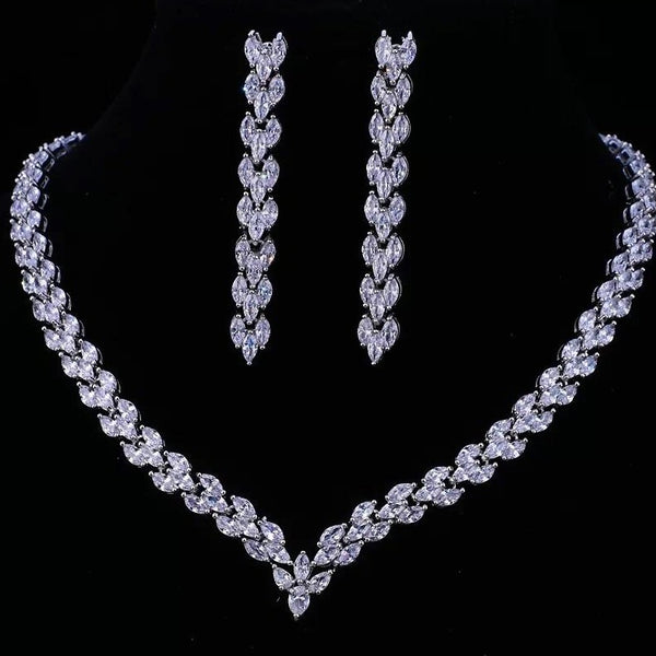 Classic Silver Leaf Bridal Jewellery Set, Cubic Zirconia Necklace and Earrings Set