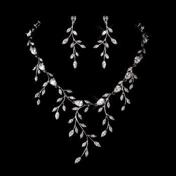 zirconia jewelry set, CZ wedding set, vines jewellery, leaf jewellery, leaf necklace, wedding set, leaf vine crystal necklace