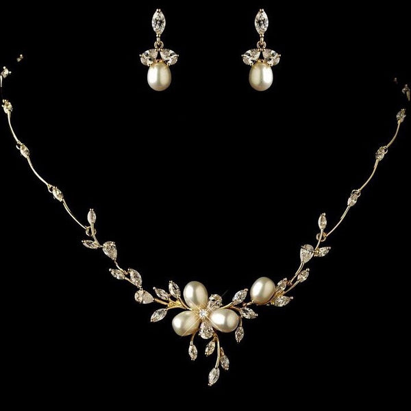Rose Gold Floral Pearl & Crystal Bridal Jewellery Set, Cubic Zirconia Necklace and Earrings Set