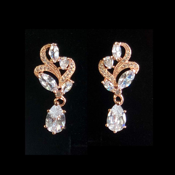 Rose Gold Vintage Floral Cubic Zirconia Drop Bridal Earrings, Wedding Earrings, Bride, Bridesmaids